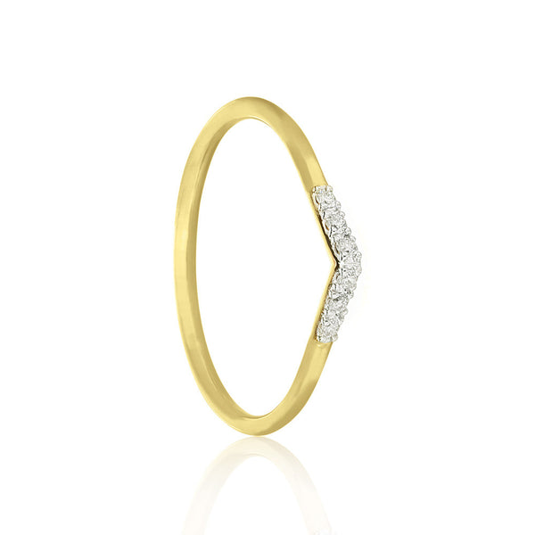 White Diamond Tear Drop Ring - 9k Yellow Gold