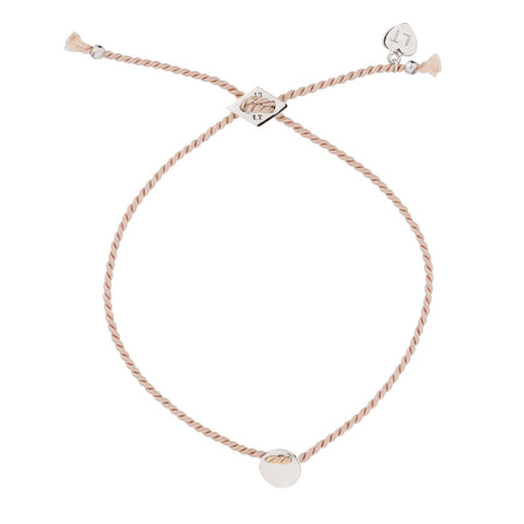 Little Disc Silk Bracelet Blush - Sterling Silver