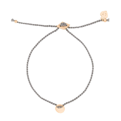 Little Disc Silk Bracelet Grey - Rose Gold Plated Sterling Silver