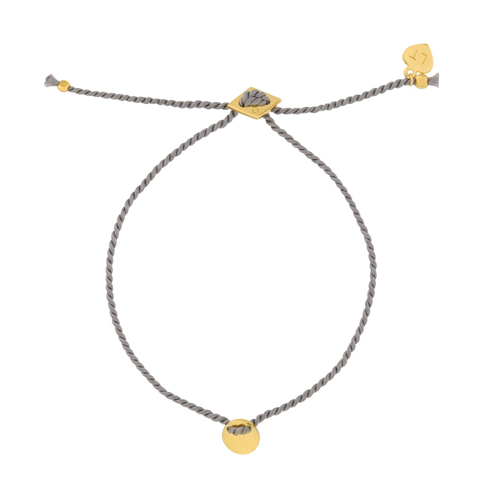 Little Disc Silk Bracelet Grey - Yellow Gold Plated Sterling Silver