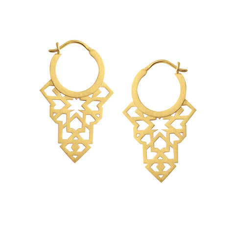 Seventh Star Earrings - Yellow Gold Plated Sterling Silver