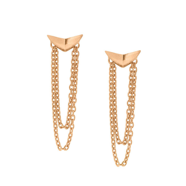 Three Moons Chain Stud Earrings - Rose Gold Plated Sterling Silver