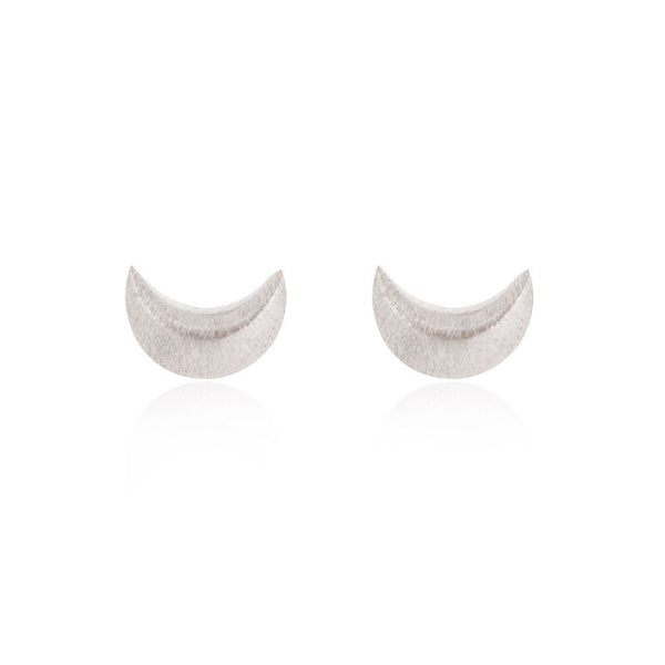 Crescent Moon Stud Earrings - Sterling Silver