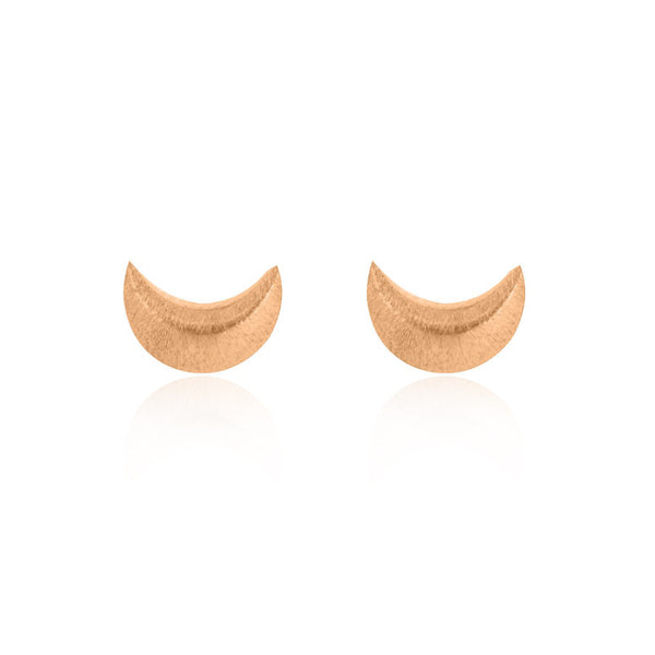 Crescent Moon Stud Earrings - Rose Gold Plated Sterling Silver