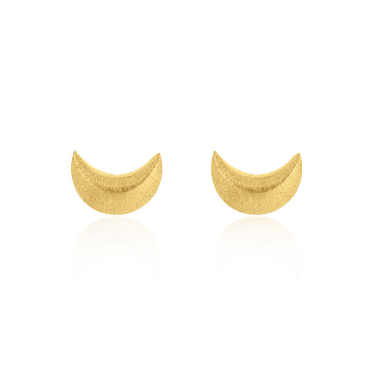 Crescent Moon Stud Earrings - Yellow Gold Plated Sterling Silver