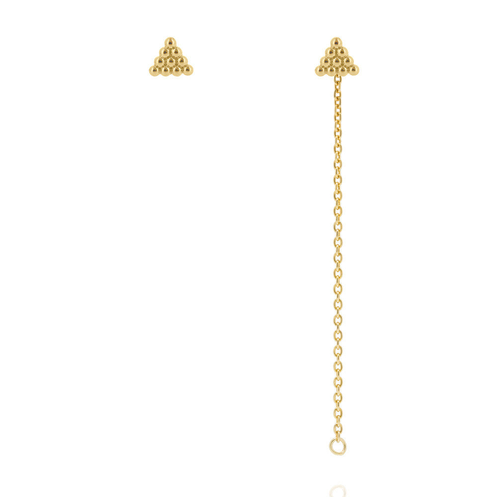 Kuchi Kuchi Stud Chain Earrings - Yellow Gold Plated Sterling Silver