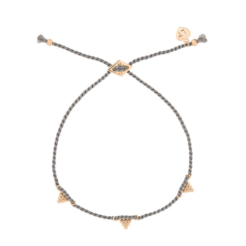 Kuchi Kuchi Silk Bracelet Grey - Rose Gold Plated Sterling Silver