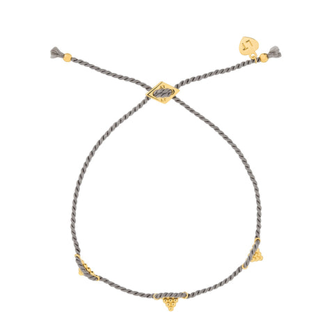 Kuchi Kuchi Silk Bracelet Grey - Yellow Gold Plated Sterling Silver