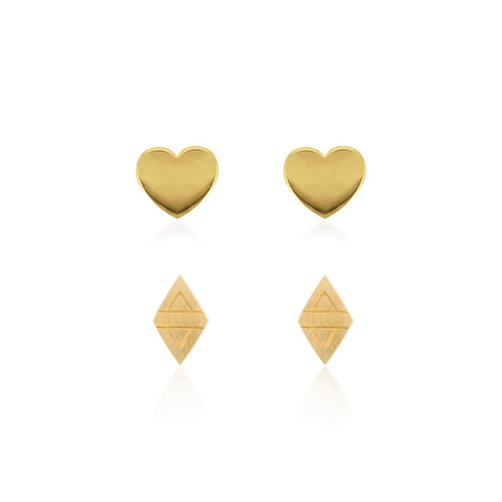 Heart Stud & Rhombus Stud Set - Yellow Gold Plated Sterling Silver