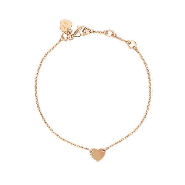 Childrens Itsy Bitsy Heart Bracelet - Rose Gold Plated Sterling Silver