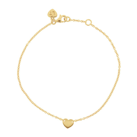 Itsy Bitsy Heart Bracelet - Yellow Gold Plated Sterling Silver