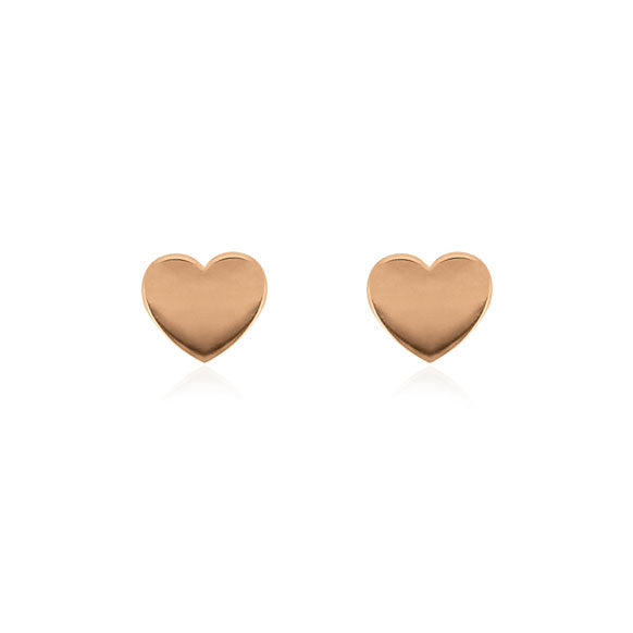 Heart Stud Earrings - Rose Gold Plated Sterling Silver