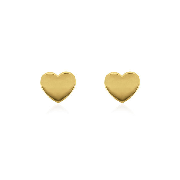 Heart Stud Earrings - Yellow Gold Plated Sterling Silver