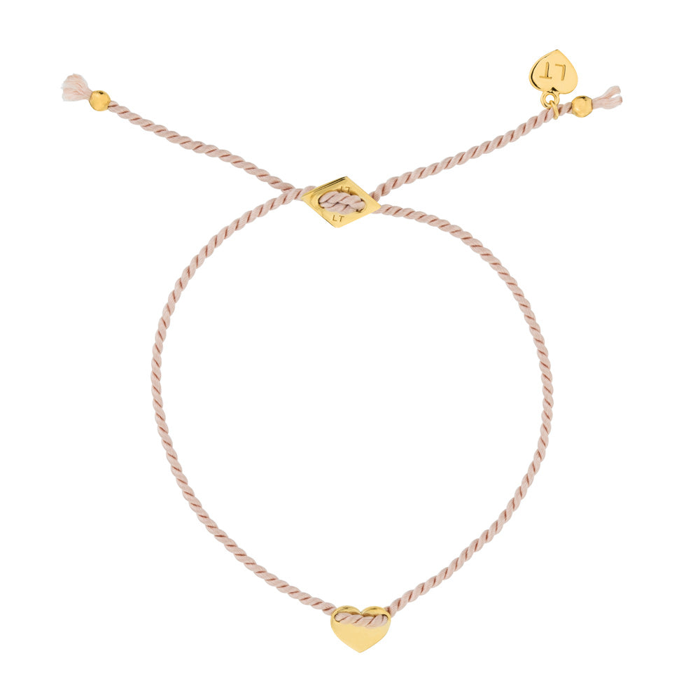 Itsy Bitsy Heart Silk Bracelet Blush - Yellow Gold Plated Sterling Silver