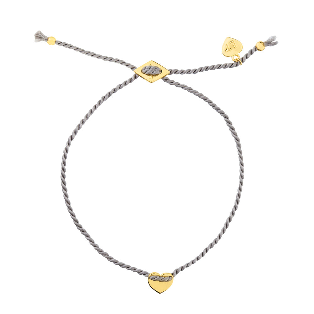Itsy Bitsy Heart Silk Bracelet Grey - Yellow Gold Plated Sterling Silver