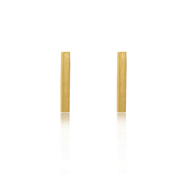 Bar Stud Earrings - Yellow Gold Plated Sterling Silver