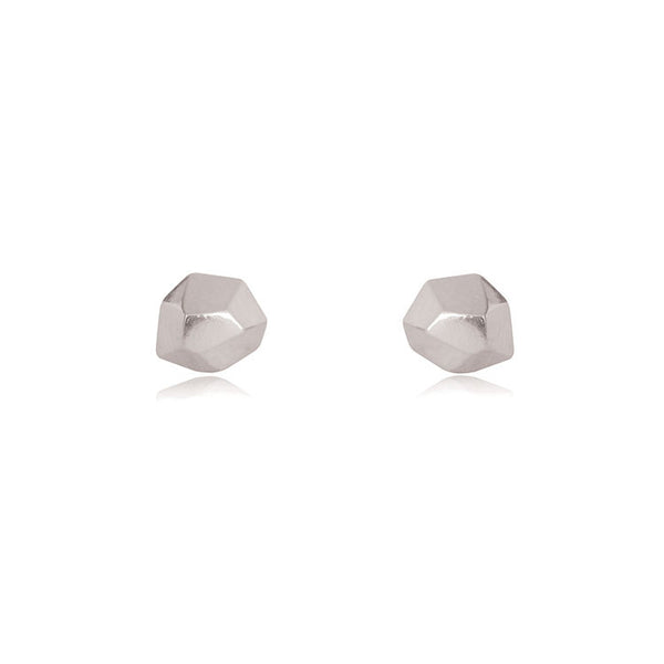 Faceted Stud Earrings - Sterling Silver