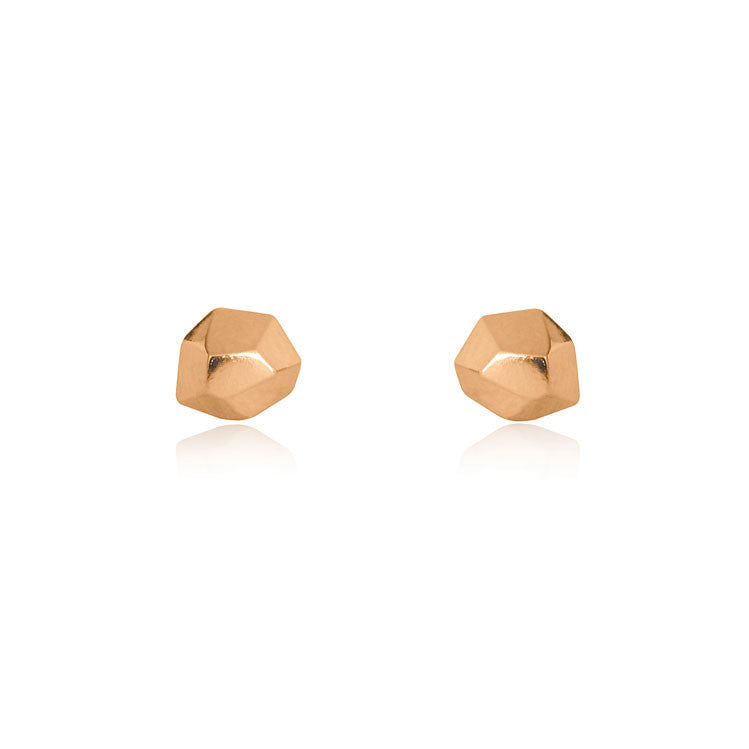 Faceted Stud Earrings - Rose Gold Plated Sterling Silver