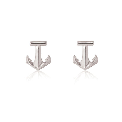 Anchor Stud Earrings - Sterling Silver