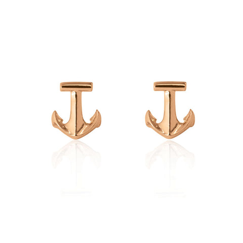 Anchor Stud Earrings - Rose Gold Plated Sterling Silver