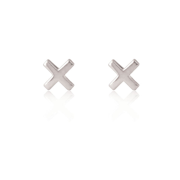 Cross Stud Earrings - Sterling Silver