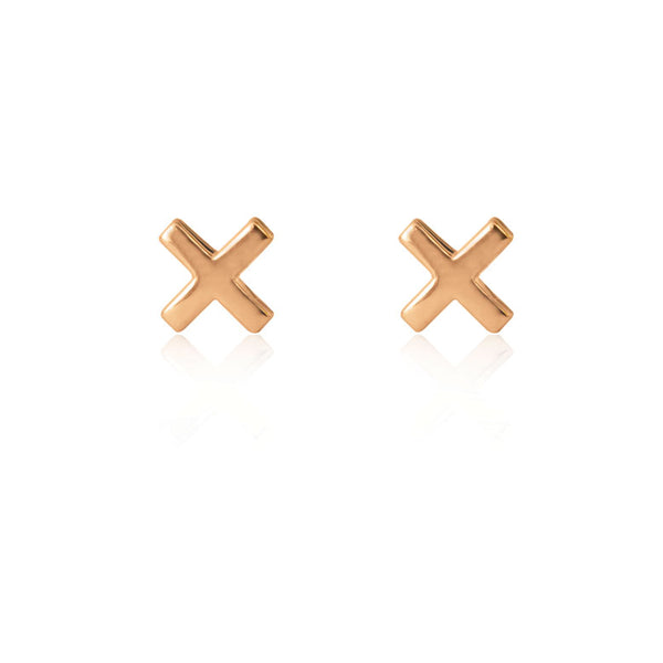 Cross Stud Earrings - Rose Gold Plated Sterling Silver