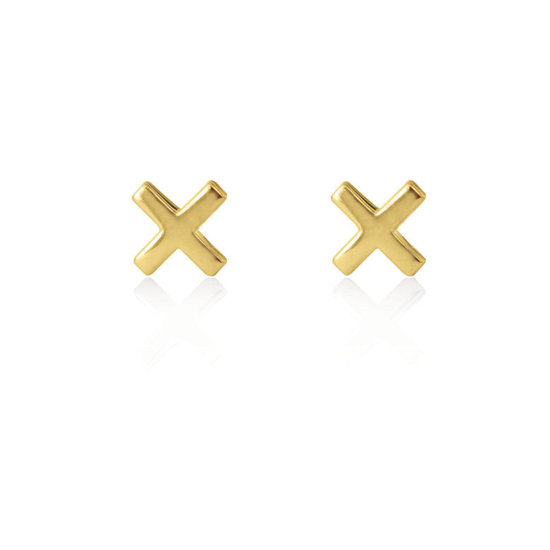 Cross Stud Earrings - Yellow Gold Plated Sterling Silver