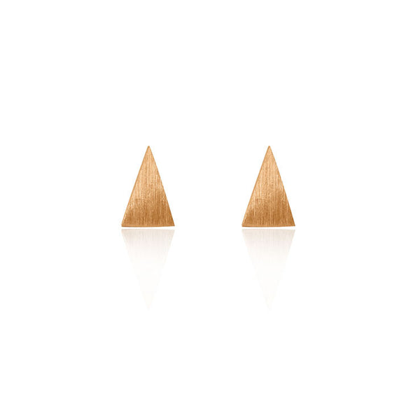 Triangle Stud Earrings - Rose Gold Plated Sterling Silver