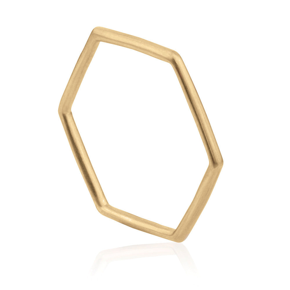 Hex Ring - 9k Yellow Gold