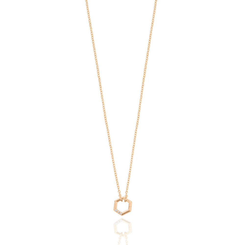Diamond Hex Necklace - 9k Rose Gold
