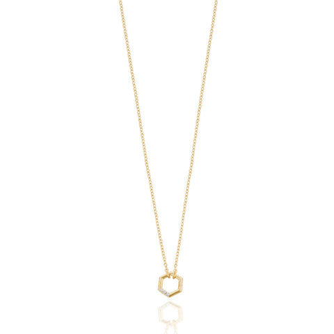 Diamond Hex Necklace - 9k Yellow Gold
