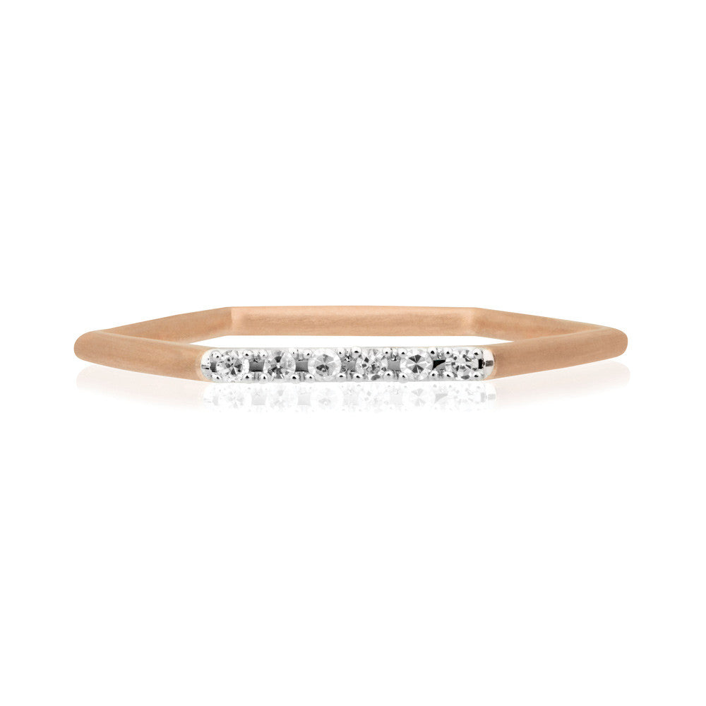 Diamond Hex Ring - 9k Rose Gold