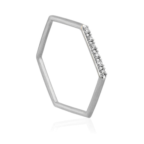 Diamond Hex Ring - 9k White Gold