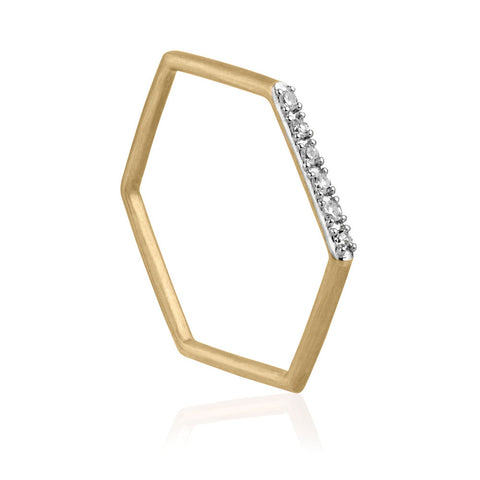 Diamond Hex Ring - 9k Yellow Gold