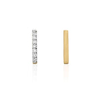 Mismatched Diamond Bar Stud Earrings - 9k Yellow Gold