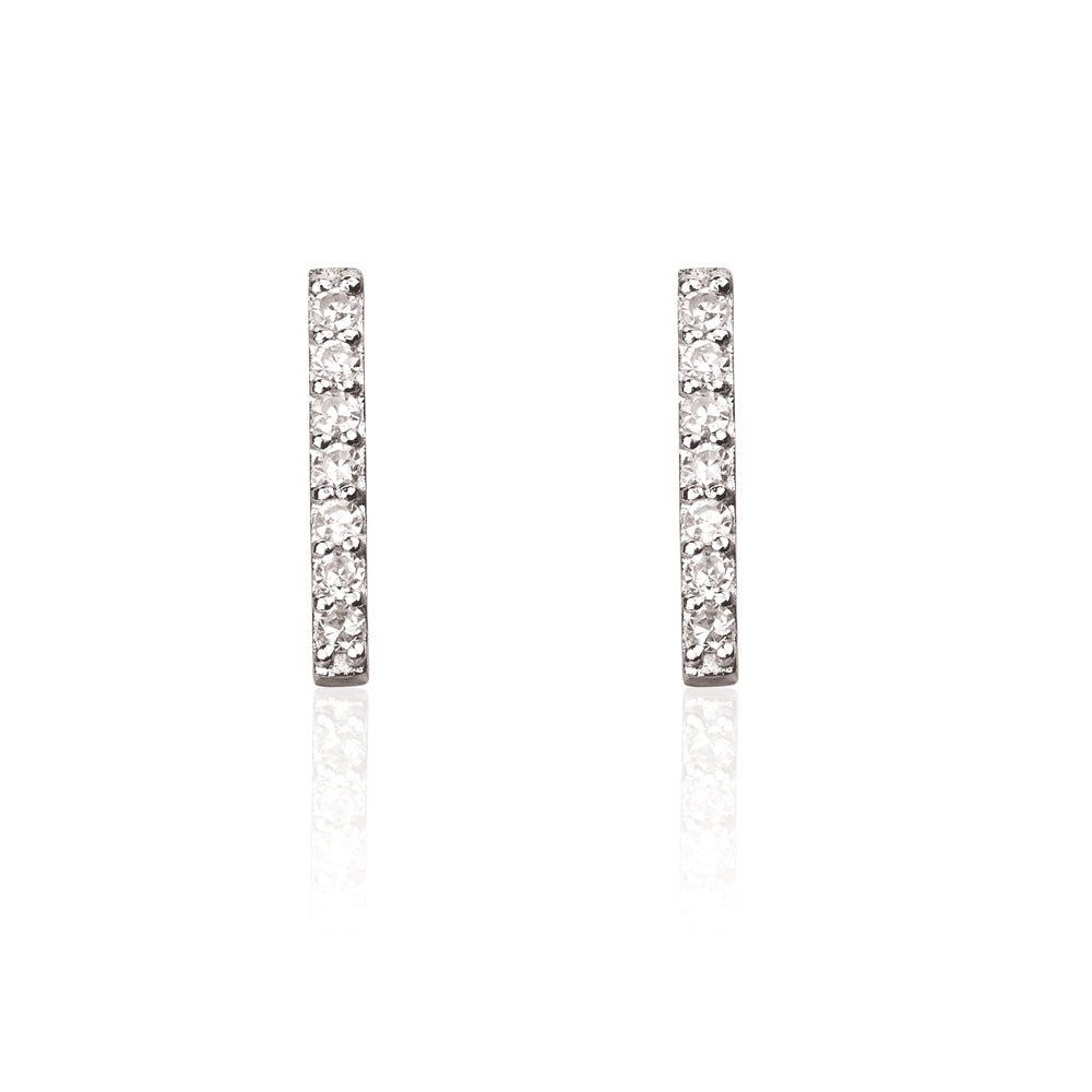 Double Diamond Bar Stud Earrings - 9k White Gold