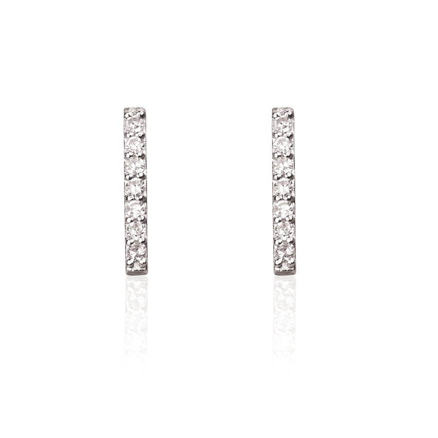 Double Diamond Bar Stud Earrings - 9k