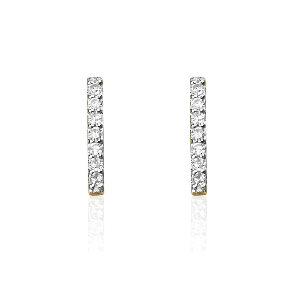 Double Diamond Bar Stud Earrings - 9k Yellow Gold