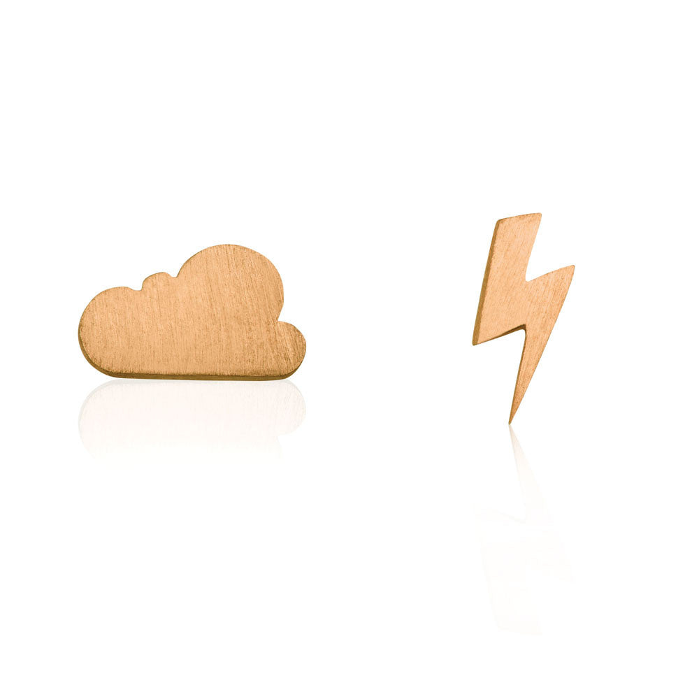 Cloud & Bolt Stud Earrings - Rose Gold Plated Sterling Silver