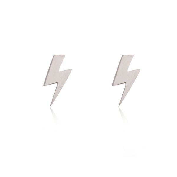 Lightning Bolt Stud Earrings - 9k White Gold