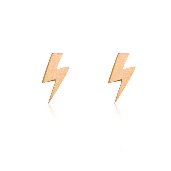 Lightning Bolt Stud Earrings - 9k Rose Gold