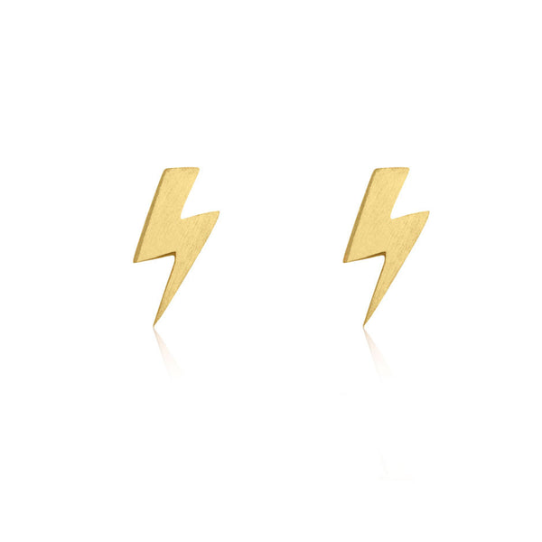 Lightning Bolt Stud Earrings - Yellow Gold Plated Sterling Silver
