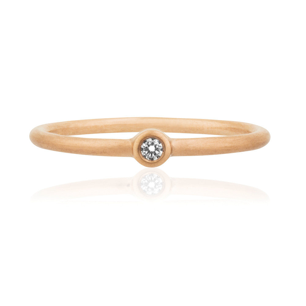 Mini Diamond Solitaire Ring - 9k Rose Gold