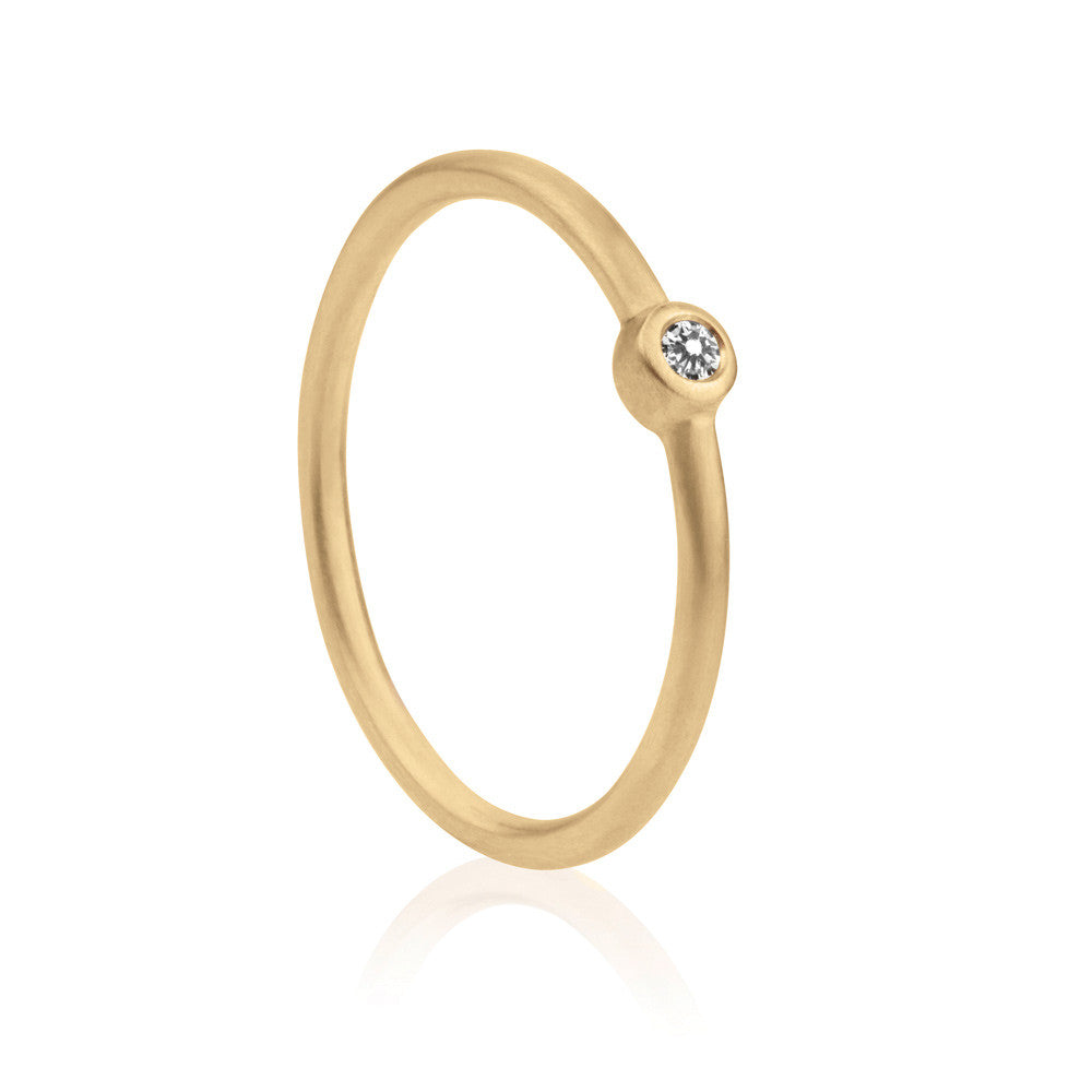 Mini Diamond Solitaire Ring - 9k Yellow Gold