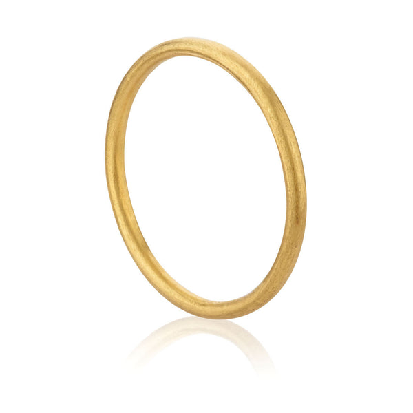Plain Brushed Ring - Yellow Gold Plated Sterling Silver