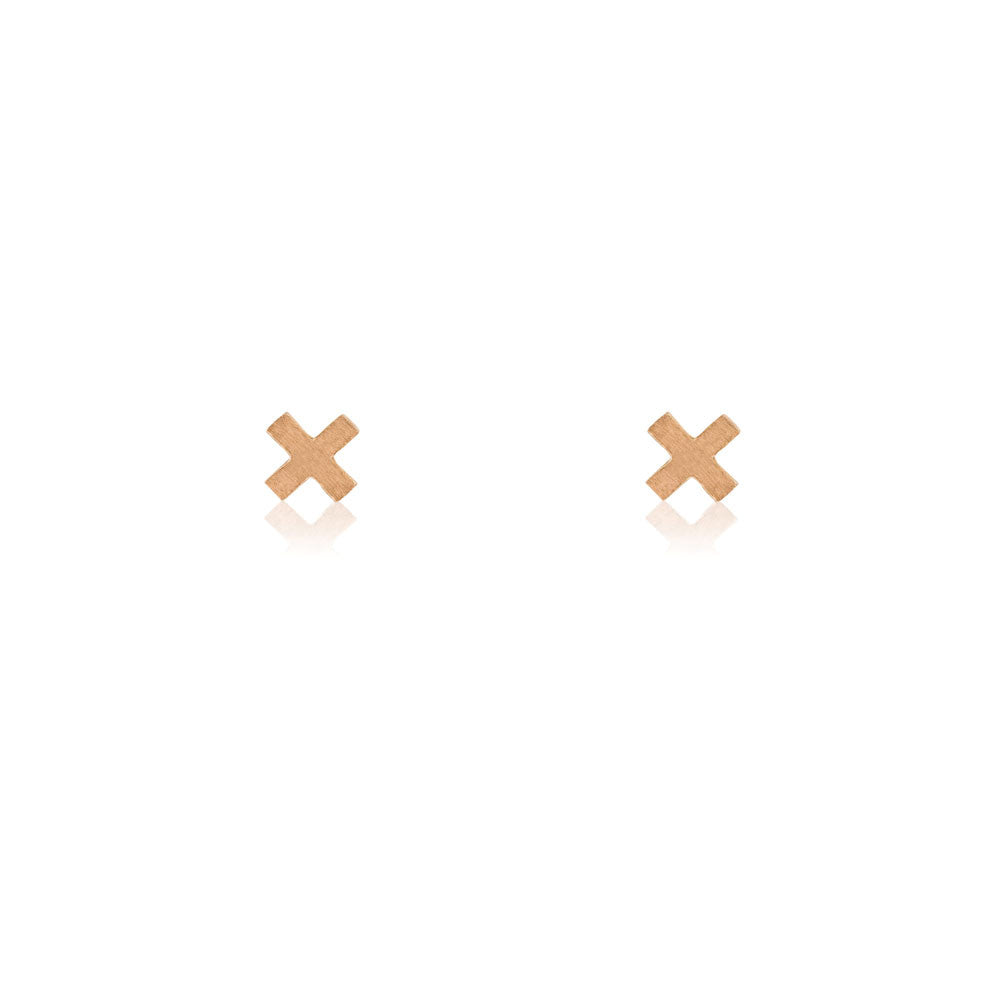 Mini Cross Stud Earrings - 9k Rose Gold