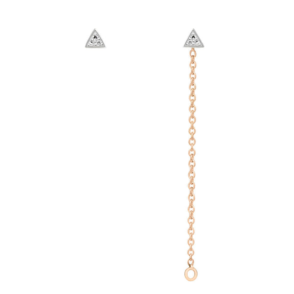 Triangle Diamond Chain Earrings - 9k Rose Gold