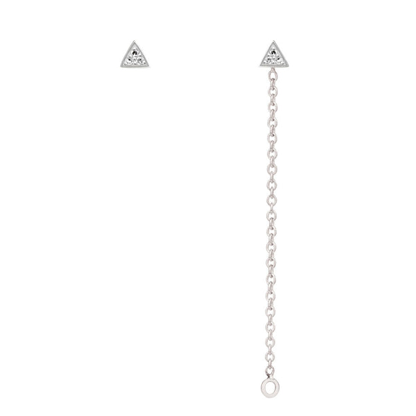 Triangle Diamond Chain Earrings - 9k White Gold