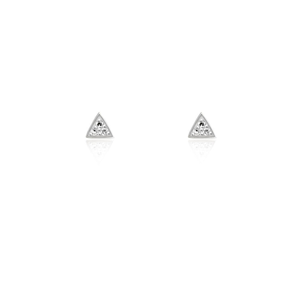 Triangle Diamond Stud Earrings - 9k Yellow Gold