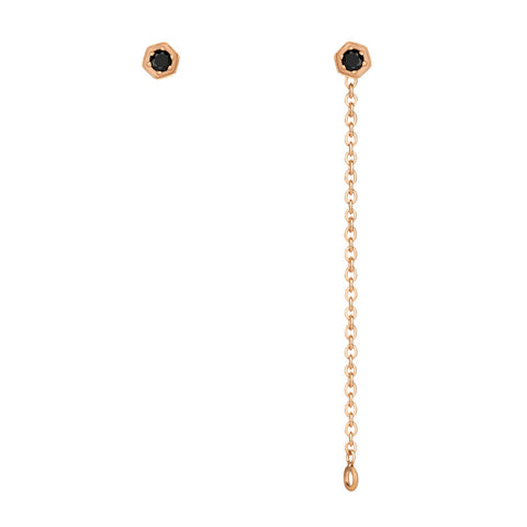 Black Diamond Hex Chain Earrings - 9k Rose Gold